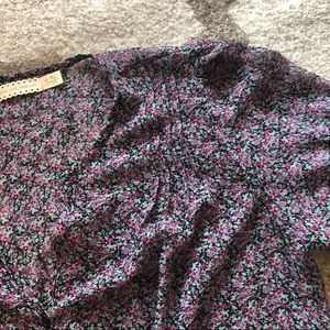 Urban Outfitters Sheer Purple Floral Blouse